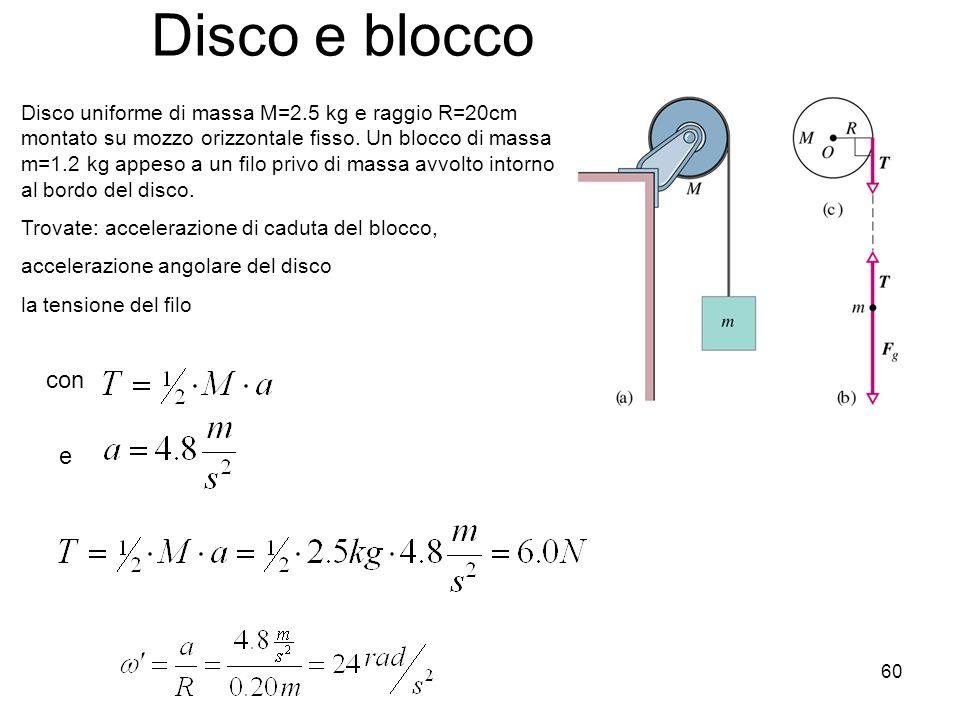 60 Disco e blocco Disco uniforme di massa M=2.5 kg e raggio R=20cm montato su mozzo orizzontale fisso. Un blocco di massa m=1.2 kg appeso a un filo pr