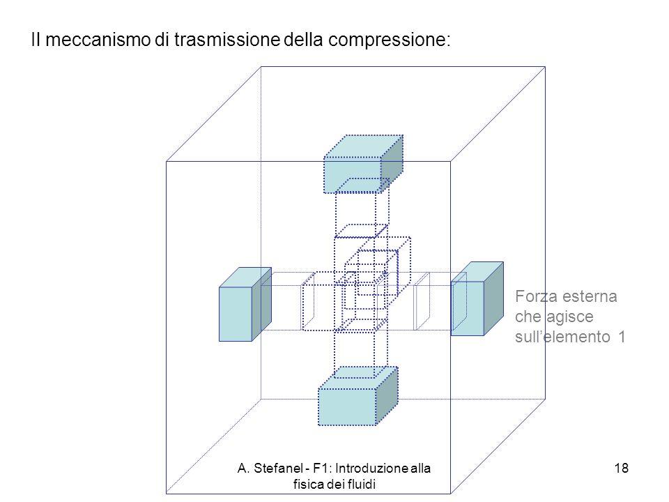A. Stefanel - F1: Introduzione alla fisica dei fluidi 18 Il meccanismo di trasmissione della compressione: Forza esterna che agisce sullelemento 1