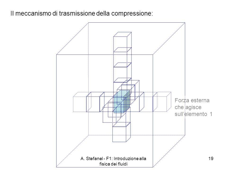 A. Stefanel - F1: Introduzione alla fisica dei fluidi 19 Il meccanismo di trasmissione della compressione: Forza esterna che agisce sullelemento 1