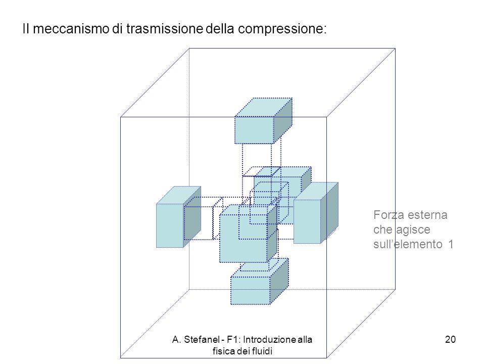A. Stefanel - F1: Introduzione alla fisica dei fluidi 20 Il meccanismo di trasmissione della compressione: Forza esterna che agisce sullelemento 1