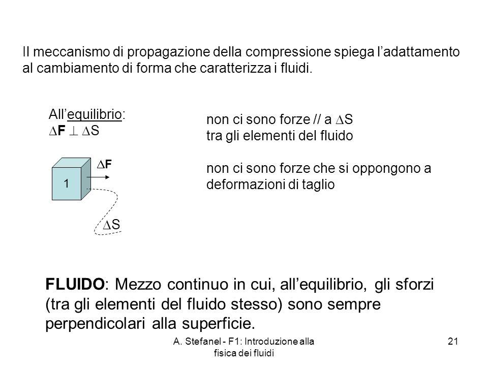 A. Stefanel - F1: Introduzione alla fisica dei fluidi 21 Il meccanismo di propagazione della compressione spiega ladattamento al cambiamento di forma