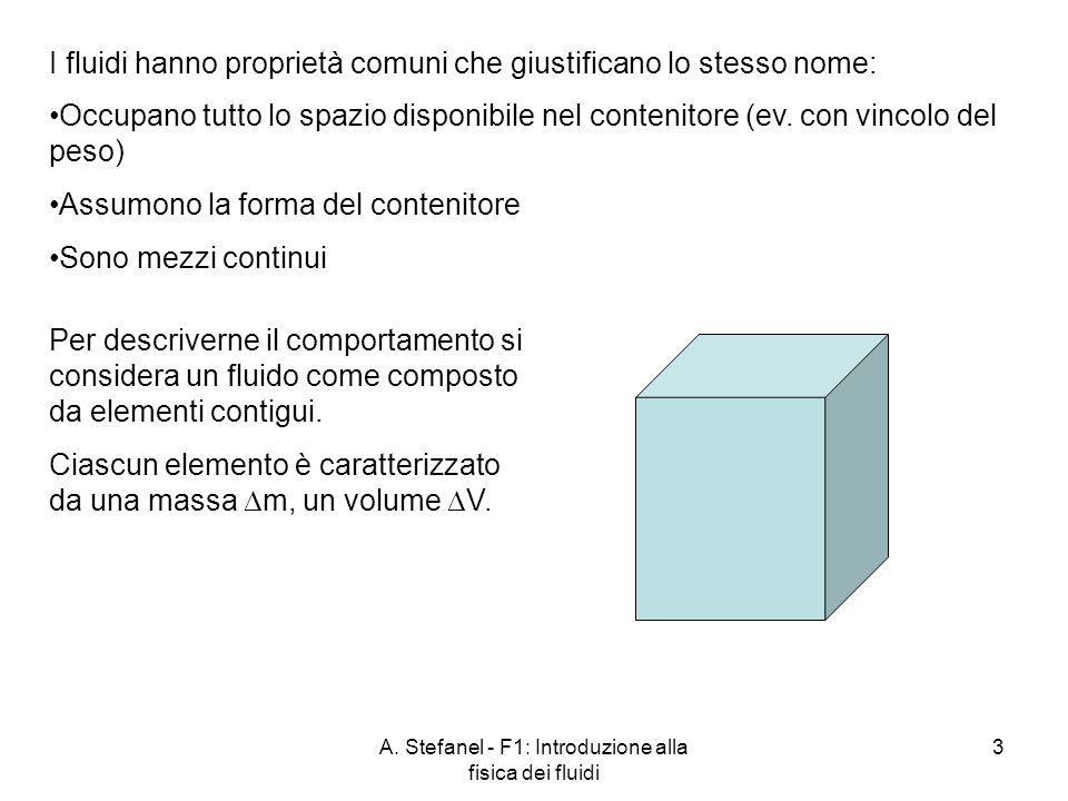 A. Stefanel - F1: Introduzione alla fisica dei fluidi 3 I fluidi hanno proprietà comuni che giustificano lo stesso nome: Per descriverne il comportame