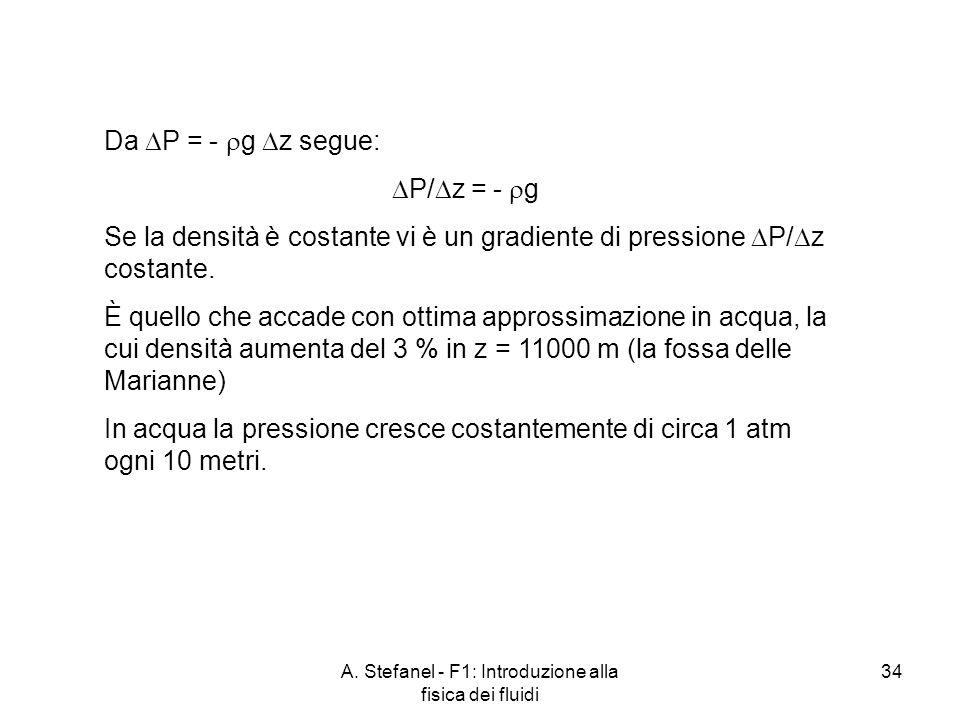 A. Stefanel - F1: Introduzione alla fisica dei fluidi 34 Da P = - g z segue: P/ z = - g Se la densità è costante vi è un gradiente di pressione P/ z c