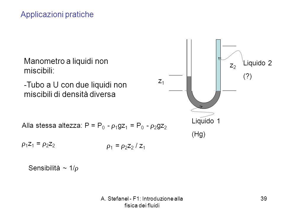 A. Stefanel - F1: Introduzione alla fisica dei fluidi 39 Manometro a liquidi non miscibili: -Tubo a U con due liquidi non miscibili di densità diversa