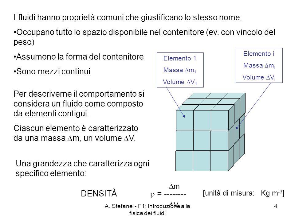 A. Stefanel - F1: Introduzione alla fisica dei fluidi 4 I fluidi hanno proprietà comuni che giustificano lo stesso nome: Occupano tutto lo spazio disp