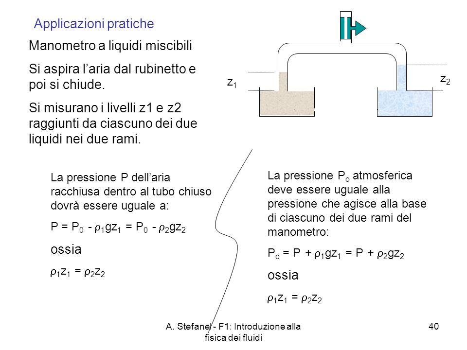 A. Stefanel - F1: Introduzione alla fisica dei fluidi 40 z1z1 z2z2 Manometro a liquidi miscibili Si aspira laria dal rubinetto e poi si chiude. Si mis