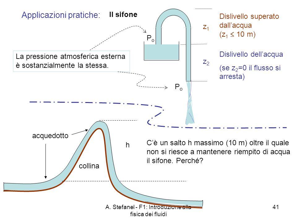 A. Stefanel - F1: Introduzione alla fisica dei fluidi 41 Il sifone z1z1 Applicazioni pratiche: z2z2 PoPo PoPo La pressione atmosferica esterna è sosta