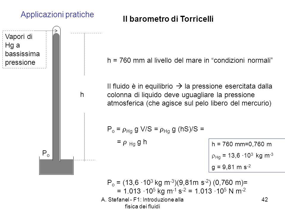 A. Stefanel - F1: Introduzione alla fisica dei fluidi 42 Applicazioni pratiche Il barometro di Torricelli PoPo Vapori di Hg a bassissima pressione h h