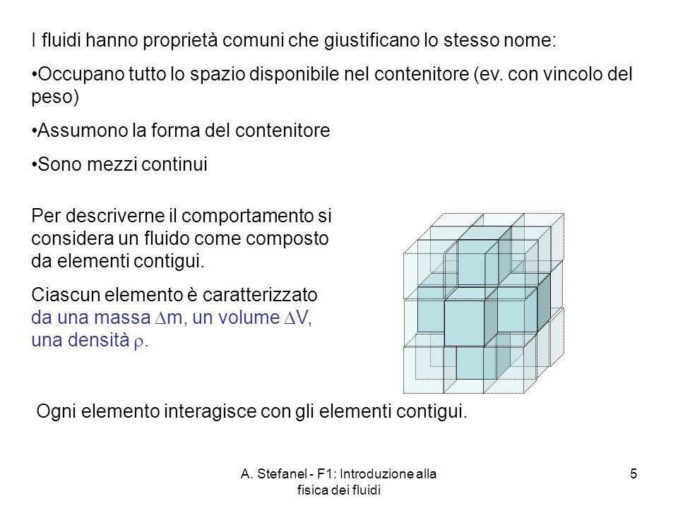 A. Stefanel - F1: Introduzione alla fisica dei fluidi 5 I fluidi hanno proprietà comuni che giustificano lo stesso nome: Occupano tutto lo spazio disp