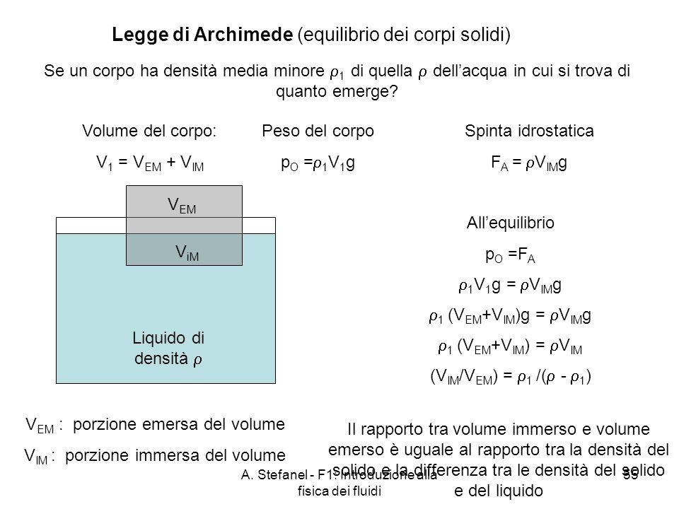 A. Stefanel - F1: Introduzione alla fisica dei fluidi 55 Legge di Archimede (equilibrio dei corpi solidi) Se un corpo ha densità media minore 1 di que