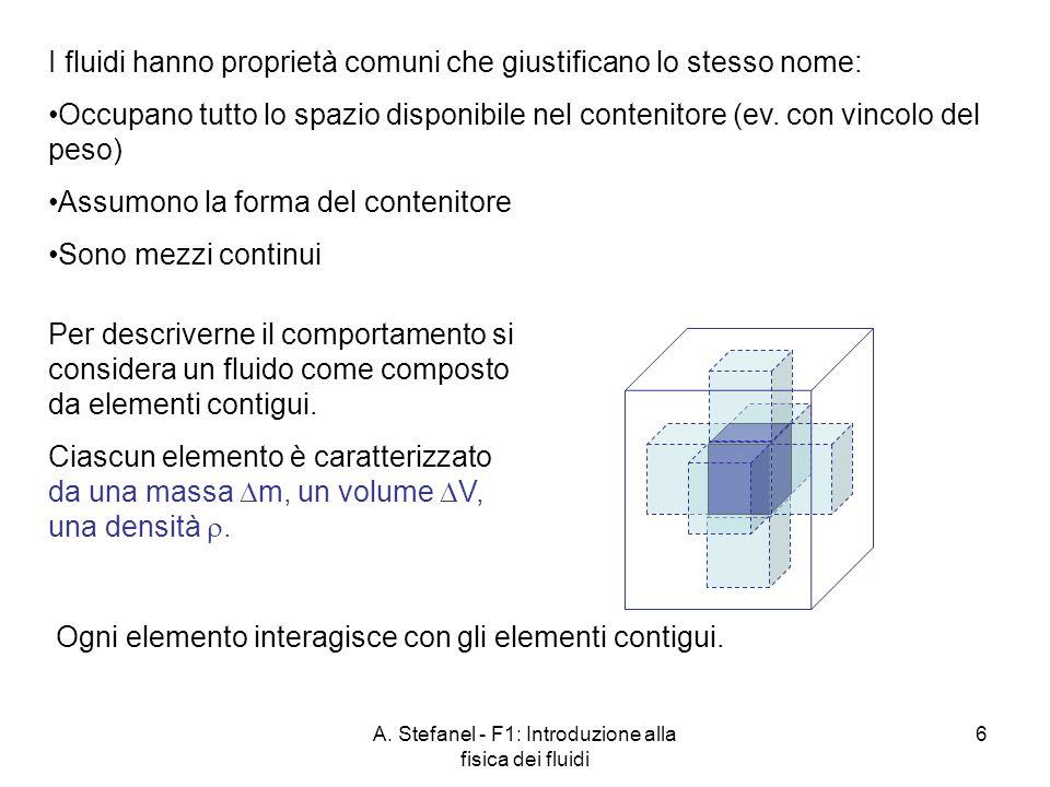 A. Stefanel - F1: Introduzione alla fisica dei fluidi 6 I fluidi hanno proprietà comuni che giustificano lo stesso nome: Occupano tutto lo spazio disp