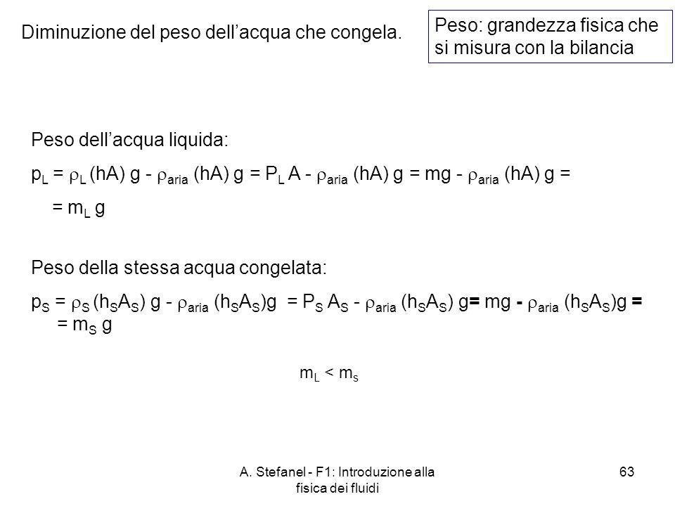 A. Stefanel - F1: Introduzione alla fisica dei fluidi 63 Diminuzione del peso dellacqua che congela. Peso: grandezza fisica che si misura con la bilan