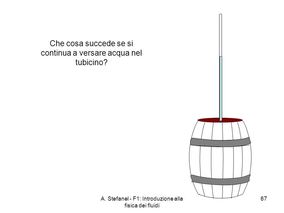 A. Stefanel - F1: Introduzione alla fisica dei fluidi 67 Che cosa succede se si continua a versare acqua nel tubicino?