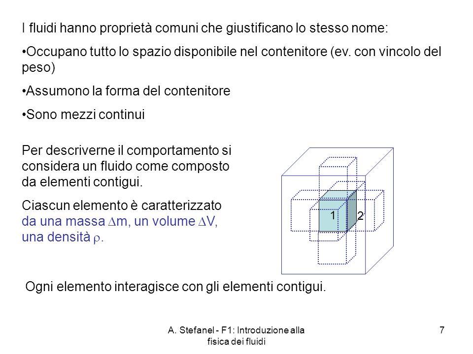 A. Stefanel - F1: Introduzione alla fisica dei fluidi 7 I fluidi hanno proprietà comuni che giustificano lo stesso nome: Occupano tutto lo spazio disp
