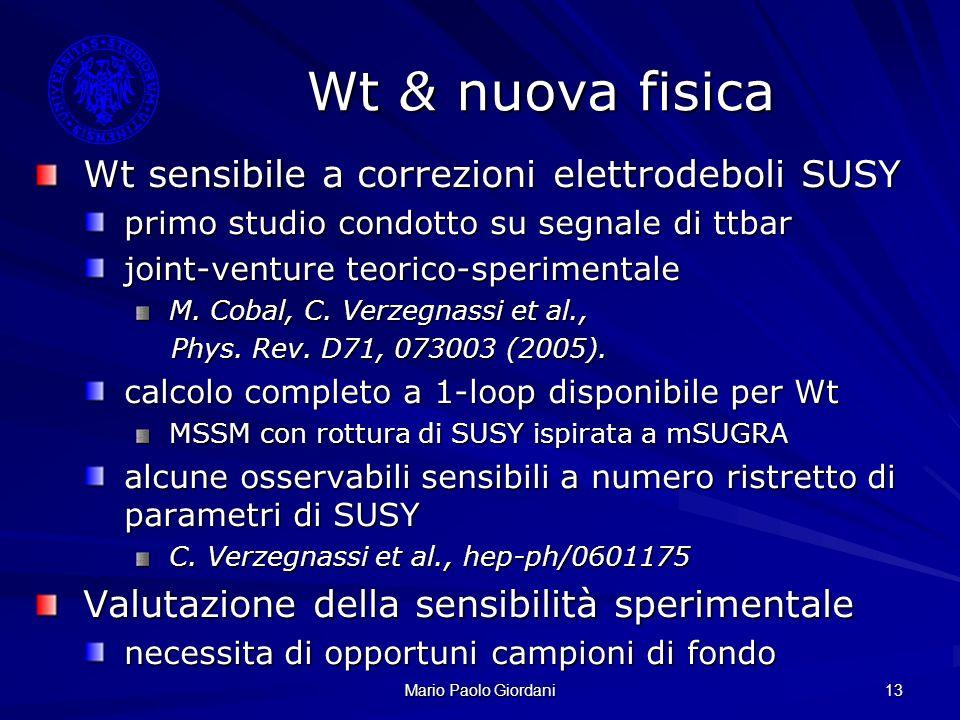Mario Paolo Giordani 13 Wt & nuova fisica Wt sensibile a correzioni elettrodeboli SUSY primo studio condotto su segnale di ttbar joint-venture teorico