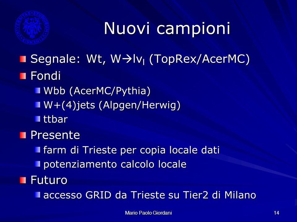 Mario Paolo Giordani 14 Nuovi campioni Segnale: Wt, W lν l (TopRex/AcerMC) Fondi Wbb (AcerMC/Pythia) W+(4)jets (Alpgen/Herwig) ttbarPresente farm di T