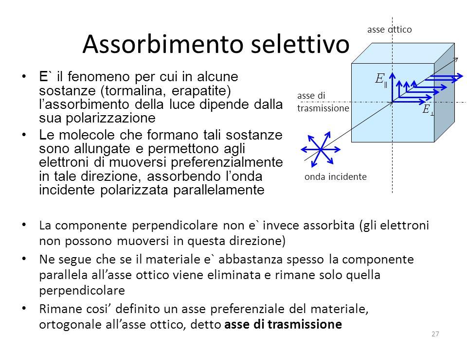 Assorbimento selettivo E` il fenomeno per cui in alcune sostanze (tormalina, erapatite) lassorbimento della luce dipende dalla sua polarizzazione Le molecole che formano tali sostanze sono allungate e permettono agli elettroni di muoversi preferenzialmente in tale direzione, assorbendo londa incidente polarizzata parallelamente 27 La componente perpendicolare non e` invece assorbita (gli elettroni non possono muoversi in questa direzione) Ne segue che se il materiale e` abbastanza spesso la componente parallela allasse ottico viene eliminata e rimane solo quella perpendicolare Rimane cosi definito un asse preferenziale del materiale, ortogonale allasse ottico, detto asse di trasmissione asse ottico onda incidente asse di trasmissione