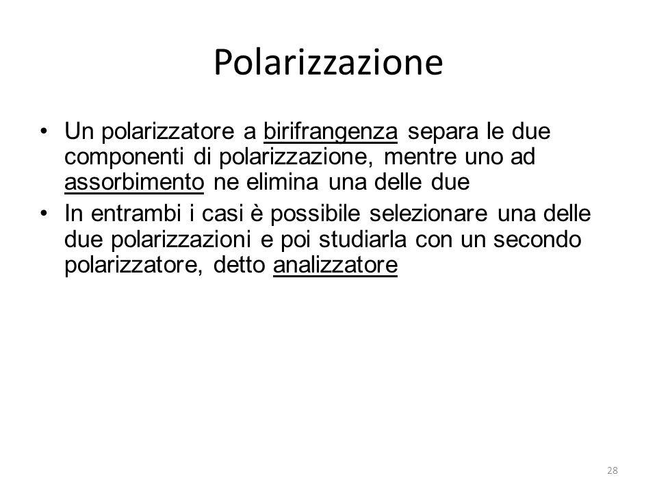Polarizzazione Un polarizzatore a birifrangenza separa le due componenti di polarizzazione, mentre uno ad assorbimento ne elimina una delle due In entrambi i casi è possibile selezionare una delle due polarizzazioni e poi studiarla con un secondo polarizzatore, detto analizzatore 28