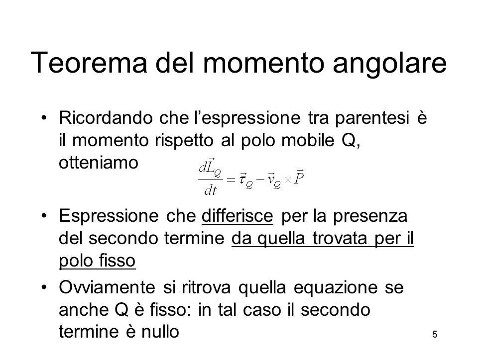 Teorema del momento angolare Esistono però altri casi in cui le equazioni per il polo mobile e per il polo fisso sono uguali Il caso più importante è quello in cui il polo coincide con il CM del sistema, in tal caso E poiché v CM e P sono proporzionali, segue 6
