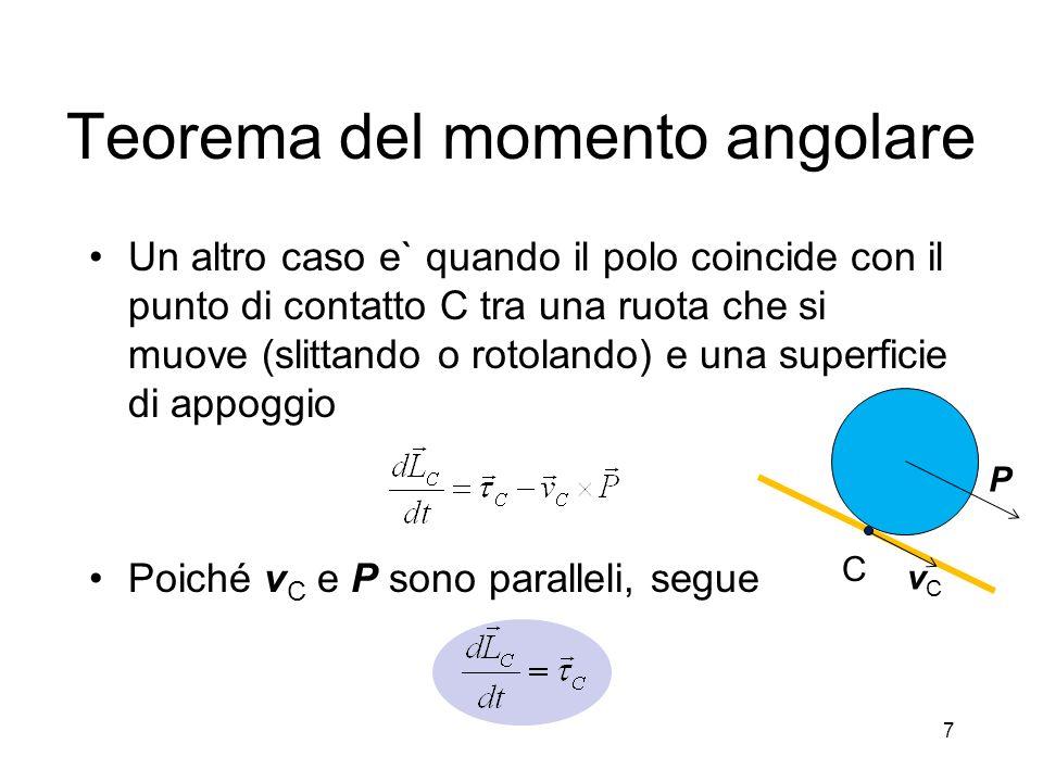Teorema del momento angolare Un altro caso e` quando il polo coincide con il punto di contatto C tra una ruota che si muove (slittando o rotolando) e una superficie di appoggio Poiché v C e P sono paralleli, segue C P vCvC 7