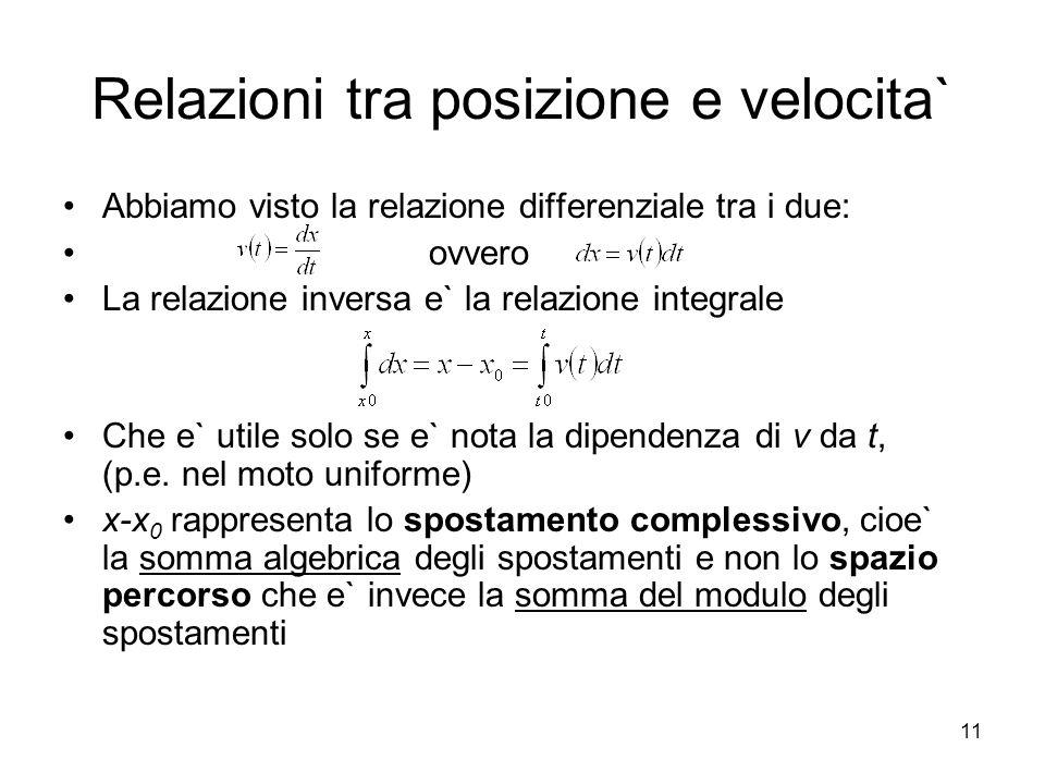 Relazioni tra posizione e velocita` Abbiamo visto la relazione differenziale tra i due: ovvero La relazione inversa e` la relazione integrale Che e` u