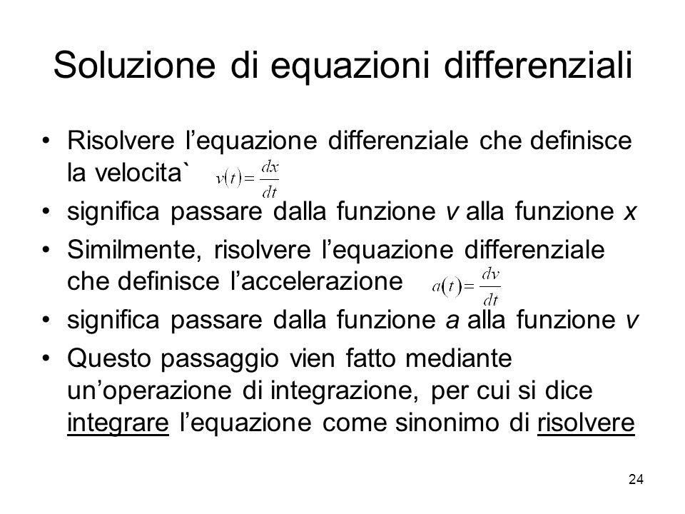 Soluzione di equazioni differenziali Risolvere lequazione differenziale che definisce la velocita` significa passare dalla funzione v alla funzione x