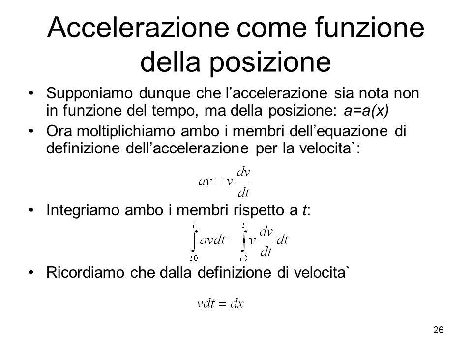Accelerazione come funzione della posizione Supponiamo dunque che laccelerazione sia nota non in funzione del tempo, ma della posizione: a=a(x) Ora mo