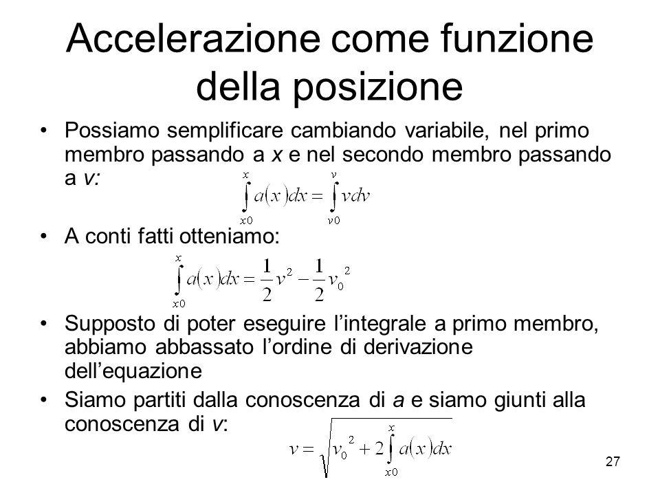 Accelerazione come funzione della posizione Possiamo semplificare cambiando variabile, nel primo membro passando a x e nel secondo membro passando a v