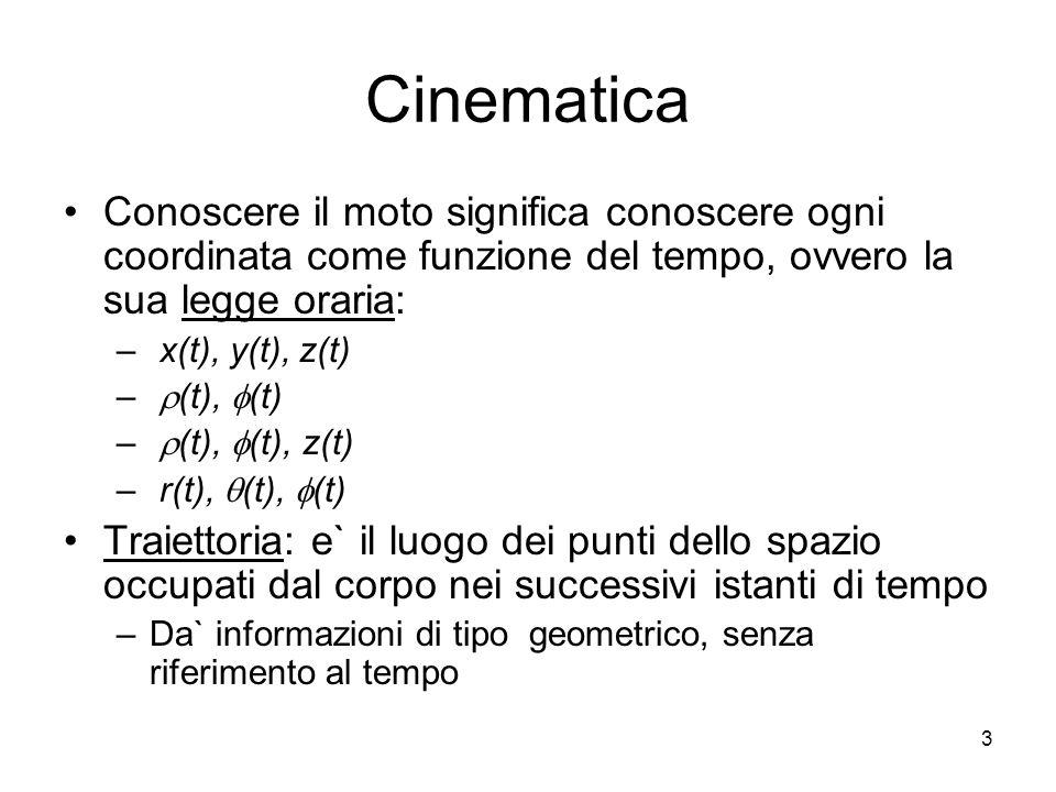 Cinematica Conoscere il moto significa conoscere ogni coordinata come funzione del tempo, ovvero la sua legge oraria: – x(t), y(t), z(t) – (t), (t) –