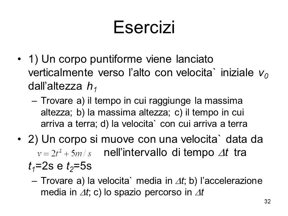 Esercizi 1) Un corpo puntiforme viene lanciato verticalmente verso lalto con velocita` iniziale v 0 dallaltezza h 1 –Trovare a) il tempo in cui raggiu