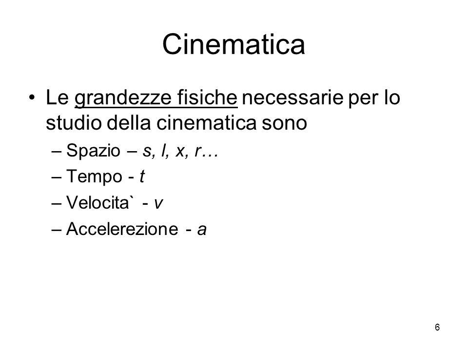 Cinematica Le grandezze fisiche necessarie per lo studio della cinematica sono –Spazio – s, l, x, r… –Tempo - t –Velocita` - v –Accelerezione - a 6