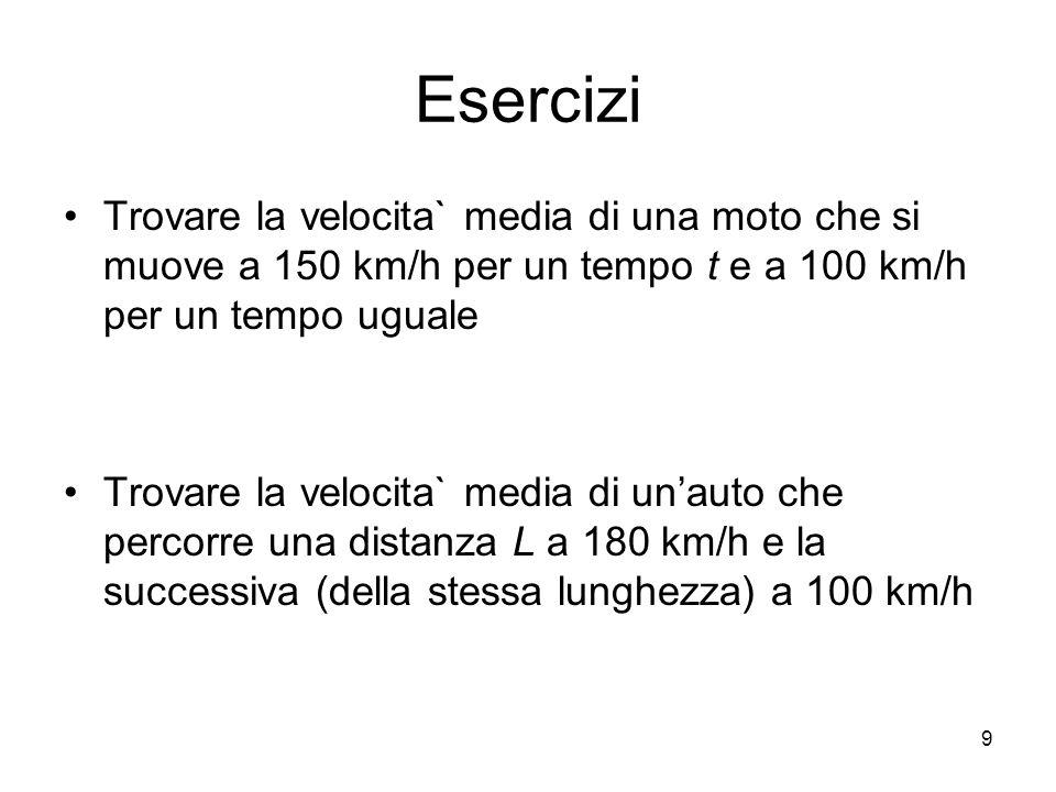 Esercizi Trovare la velocita` media di una moto che si muove a 150 km/h per un tempo t e a 100 km/h per un tempo uguale Trovare la velocita` media di