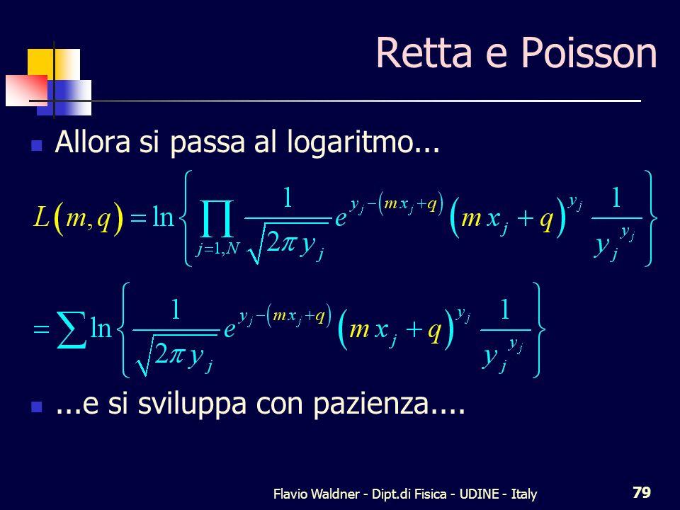 Flavio Waldner - Dipt.di Fisica - UDINE - Italy 79 Retta e Poisson Allora si passa al logaritmo......e si sviluppa con pazienza....