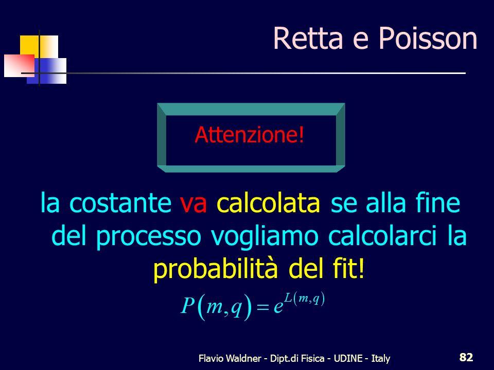 Flavio Waldner - Dipt.di Fisica - UDINE - Italy 82 Retta e Poisson Attenzione! la costante va calcolata se alla fine del processo vogliamo calcolarci