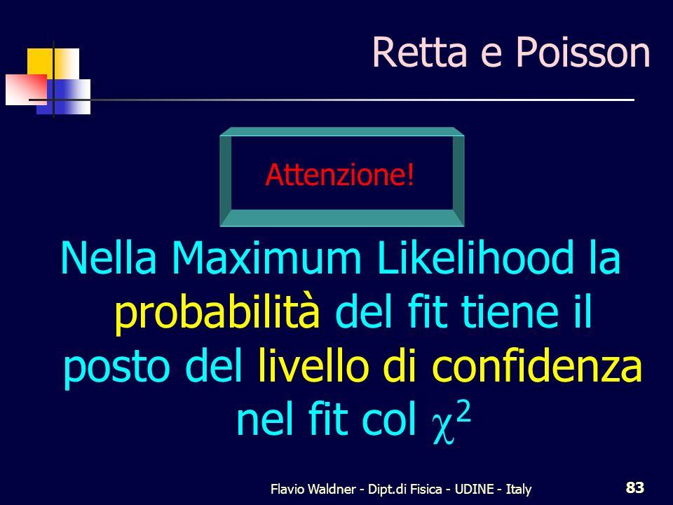 Flavio Waldner - Dipt.di Fisica - UDINE - Italy 83 Retta e Poisson Attenzione! Nella Maximum Likelihood la probabilità del fit tiene il posto del live