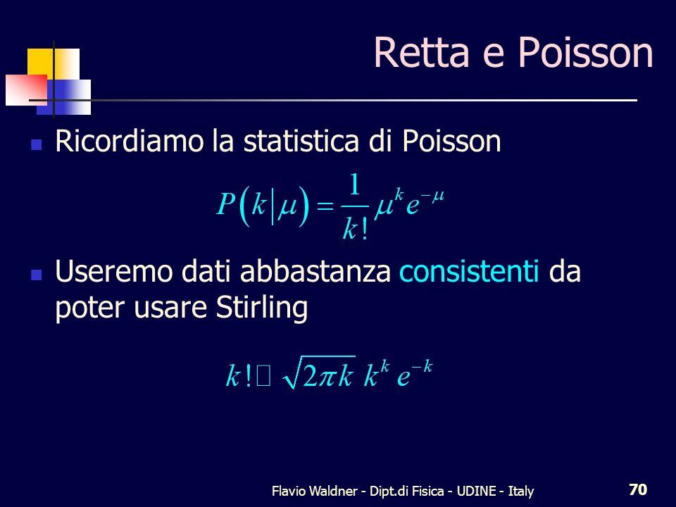 Flavio Waldner - Dipt.di Fisica - UDINE - Italy 71 Retta e Poisson Altrimenti conviene eliminare il fattoriale, passando al continuo Prima o poi dovremo fare delle derivate...