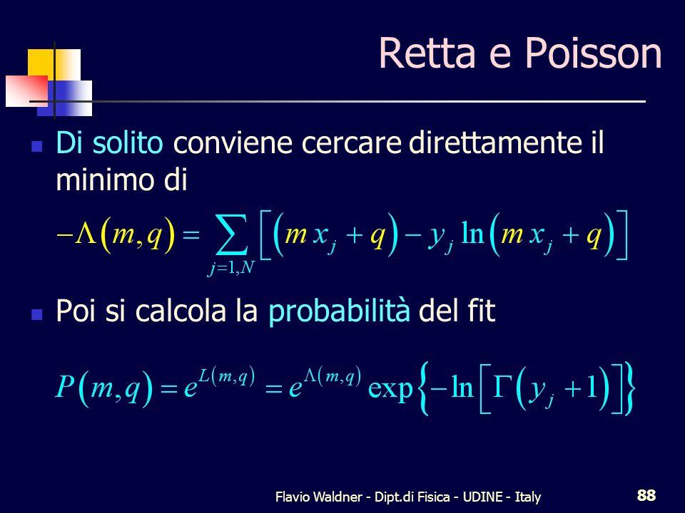 Flavio Waldner - Dipt.di Fisica - UDINE - Italy 88 Retta e Poisson Di solito conviene cercare direttamente il minimo di Poi si calcola la probabilità