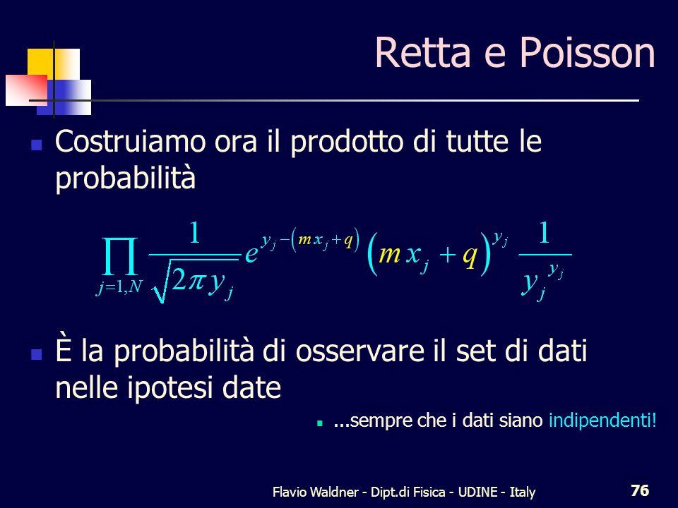 Flavio Waldner - Dipt.di Fisica - UDINE - Italy 77 Annullando la derivata di questa funzione rispetto ad m e q si ottengono i valori che rendono massima la probabilità di osservare il campione dato nelle ipotesi che sia valida la statistica di Poisson per ogni dato e che il modello sia una retta
