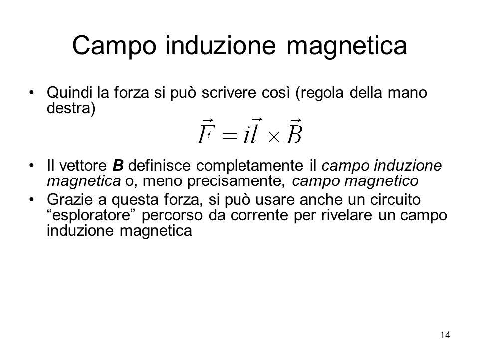 Campo induzione magnetica Quindi la forza si può scrivere così (regola della mano destra) Il vettore B definisce completamente il campo induzione magn