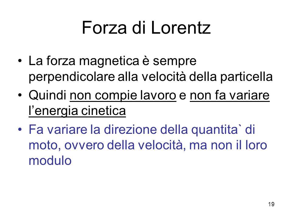 Forza di Lorentz La forza magnetica è sempre perpendicolare alla velocità della particella Quindi non compie lavoro e non fa variare lenergia cinetica