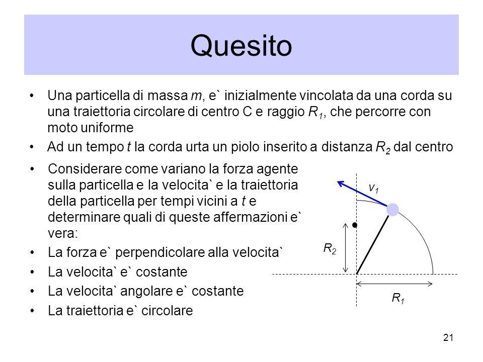 Quesito Una particella di massa m, e` inizialmente vincolata da una corda su una traiettoria circolare di centro C e raggio R 1, che percorre con moto