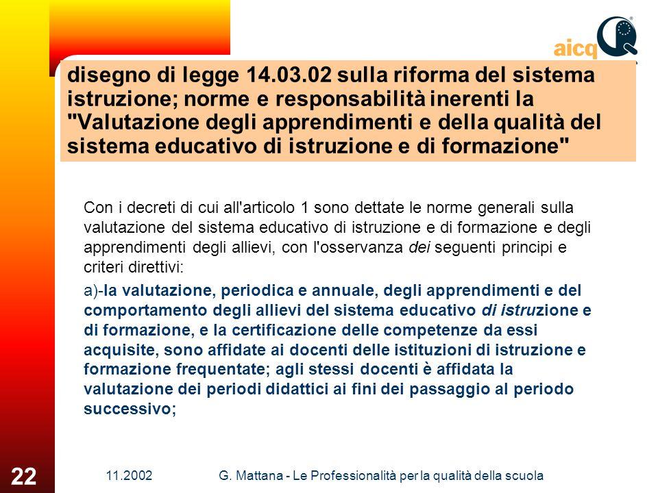 11.2002G. Mattana - Le Professionalità per la qualità della scuola 22 disegno di legge 14.03.02 sulla riforma del sistema istruzione; norme e responsa