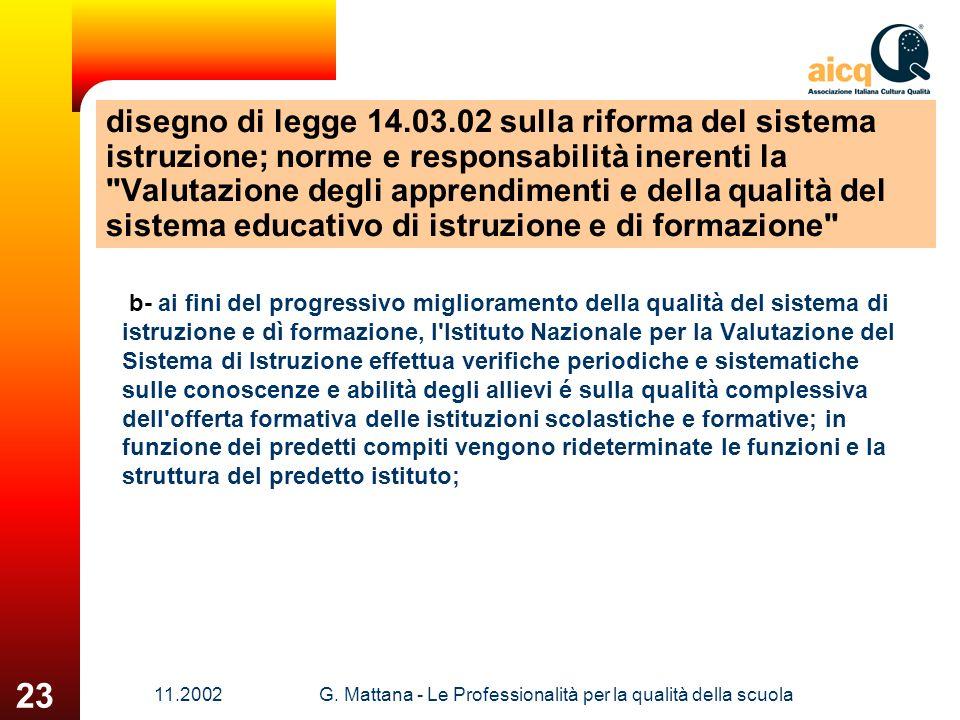 11.2002G. Mattana - Le Professionalità per la qualità della scuola 23 disegno di legge 14.03.02 sulla riforma del sistema istruzione; norme e responsa