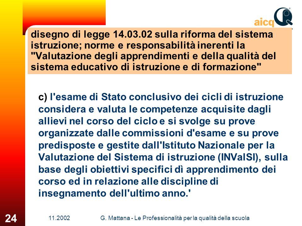 11.2002G. Mattana - Le Professionalità per la qualità della scuola 24 disegno di legge 14.03.02 sulla riforma del sistema istruzione; norme e responsa