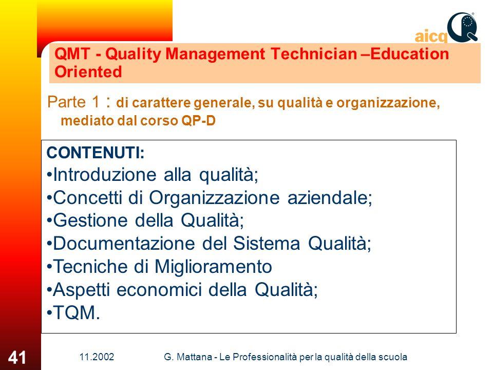 11.2002G. Mattana - Le Professionalità per la qualità della scuola 41 QMT - Quality Management Technician –Education Oriented Parte 1 : di carattere g