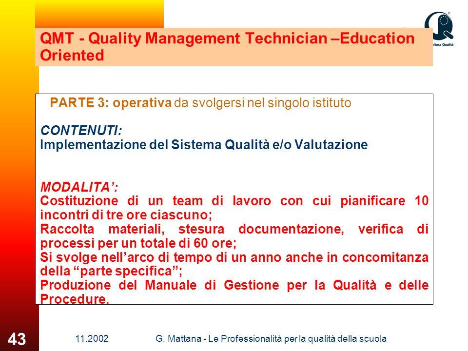 11.2002G. Mattana - Le Professionalità per la qualità della scuola 43 QMT - Quality Management Technician –Education Oriented PARTE 3: operativa da sv