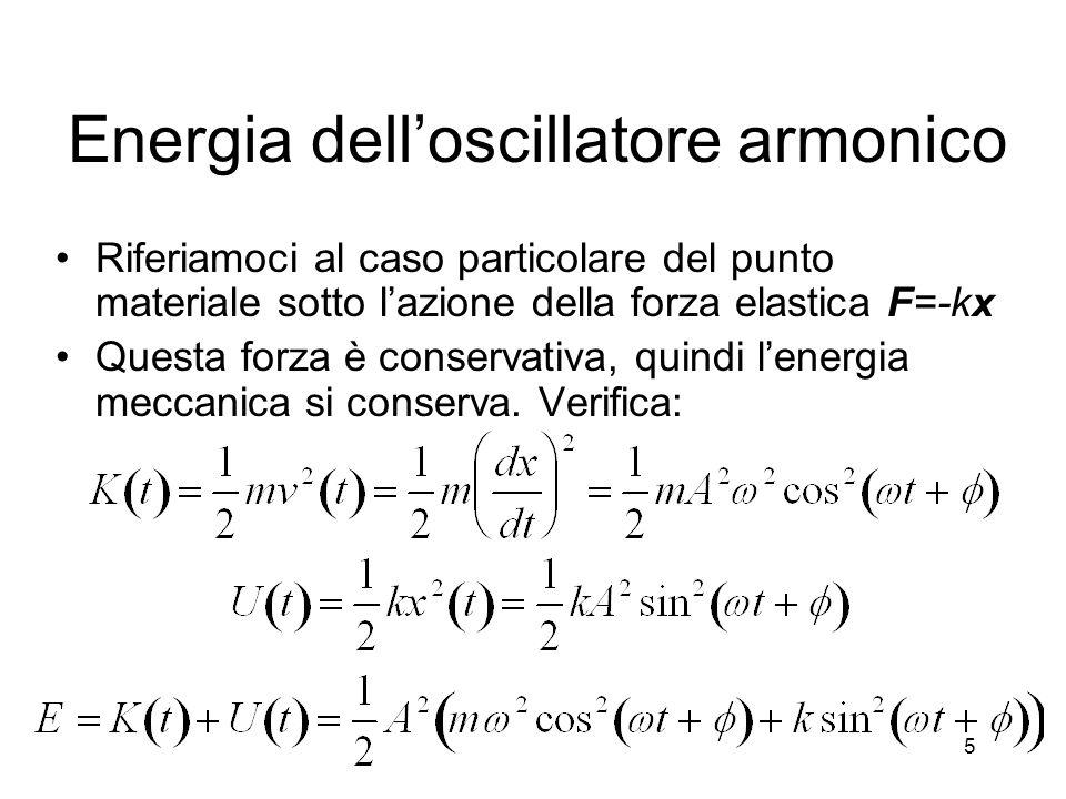 Energia delloscillatore armonico Riferiamoci al caso particolare del punto materiale sotto lazione della forza elastica F=-kx Questa forza è conservat