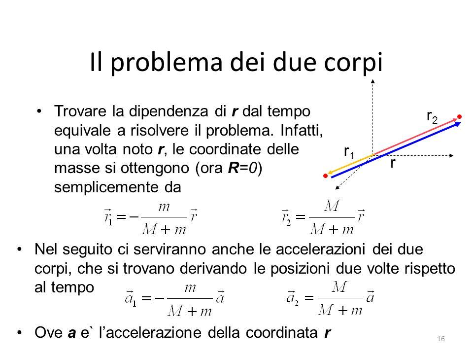 Il problema dei due corpi Trovare la dipendenza di r dal tempo equivale a risolvere il problema. Infatti, una volta noto r, le coordinate delle masse