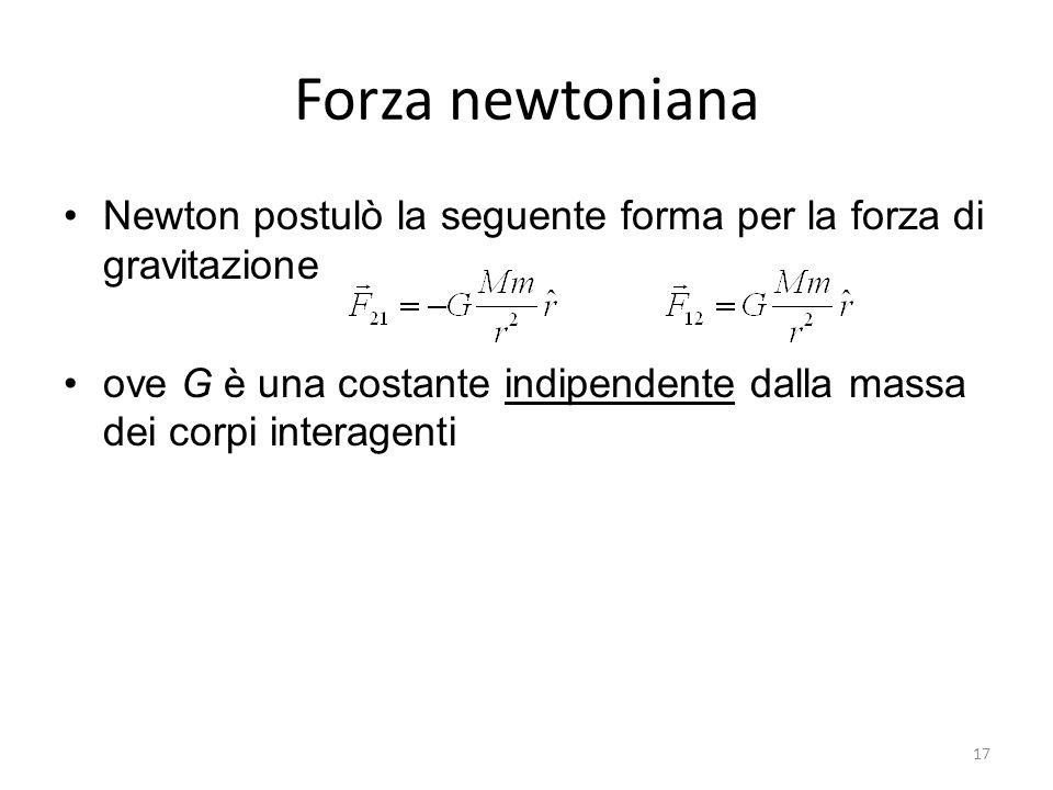 Forza newtoniana Newton postulò la seguente forma per la forza di gravitazione ove G è una costante indipendente dalla massa dei corpi interagenti 17