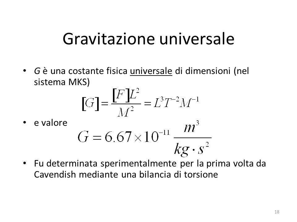 Gravitazione universale G è una costante fisica universale di dimensioni (nel sistema MKS) e valore Fu determinata sperimentalmente per la prima volta